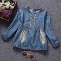 100% Algodón de los Bebés Ropa de Blusas Jeans de Manga Largas Jeans Camisas Niños Ropa Para Niños Primavera Otoño Tops