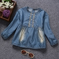 100% Cotton Baby Girls Clothes Denim Blouse Long Sleeve Jeans Shirts Kids Toddlers Clothing For Spring Fall Tops