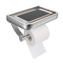 Wall Mount Toilet Paper Holder Bathroom Roll For Towel With Phone Storage Shelf Accessories