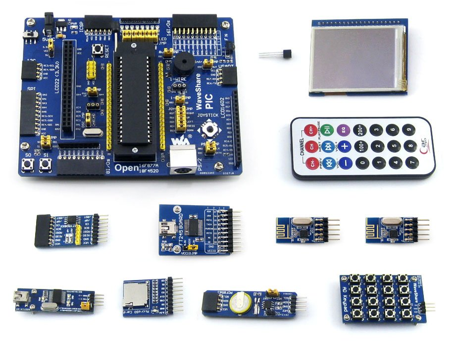 module PIC Development Board for PIC18F Serie PIC18F4520 PIC 8-bit RISC Evaluation Board +11 Accessory Modules = Open18F4520 Pac module xilinx xc3s500e spartan 3e fpga development evaluation board lcd1602 lcd12864 12 module open3s500e package b