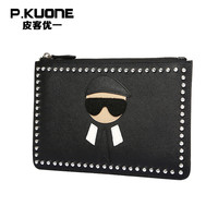 P. KUONE Заклепки натуральной кожи клатч Для мужчин новая мода кошелек мужской сумка Для женщин Элитный бренд кошелек вечерняя сумочка; BS010 жен