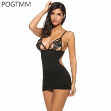 POGTMM Sexy Lingerie Women Mini Babydoll Sleepwear Hollow Crochet Lace Nightgown Female Transparent Dress Sex Underwear Set L3