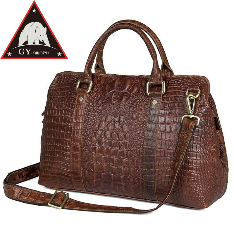 ANAPH Collection Travel Duffle Bag/ Alligator Patent Leather Luggage/ Overnight Weekender Bags Attached 15 Laptop Case In Brown anaph holdall men s italian leather weekender travel duffle bags fit 17 laptop cabin bag carry on luggage in coffee