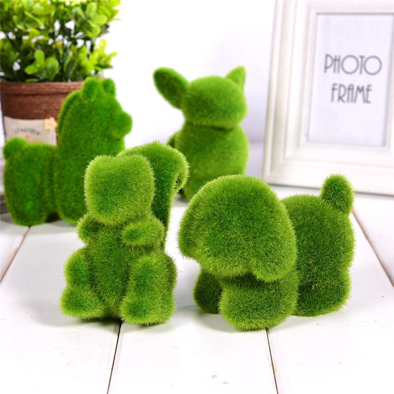 Lovely Animal Shape Simulation Green Grass Ornaments Emulational Green Plant Bonsai Grass Animal Decoration For Home Garden