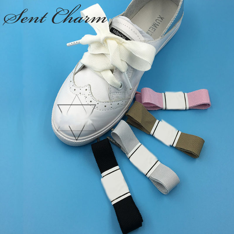 SENTCHARM 2cm Wide Solid Ribbon Striped Girl's Shoelaces Flat Shoestrings With Metal Aglet For Casual Shoes цена и фото