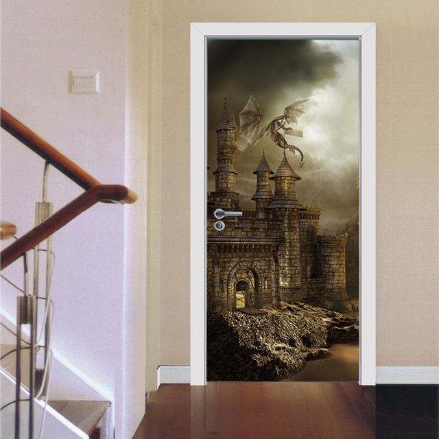 Bon Self Adhesive Gothic Castle Ladder Wall Door Stickers PVC Removable  Refrigerator Door Murals Home Decoration