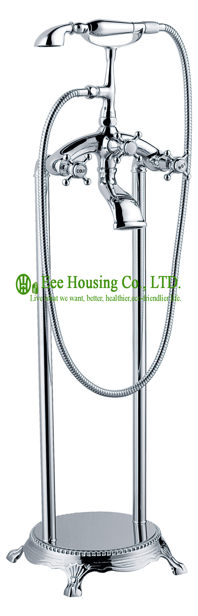 Free Shipping Brass Floor-standing Shower Bath Mixer,bathtub Faucet,chrome Finished,shower System,bathtub Accessories