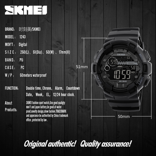 Sport Watches Chrono Countdown Waterproof Digital Watch 5