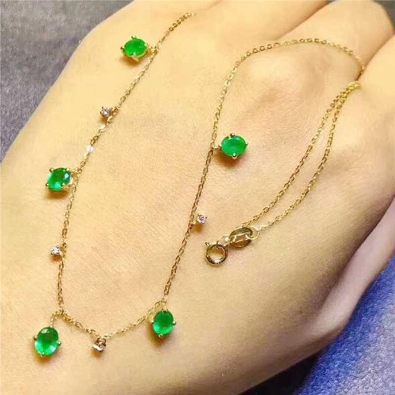 Columbia esmeralda colar 925 prata esterlina jóias finas natal novo design coreia do sul safira colar rubi