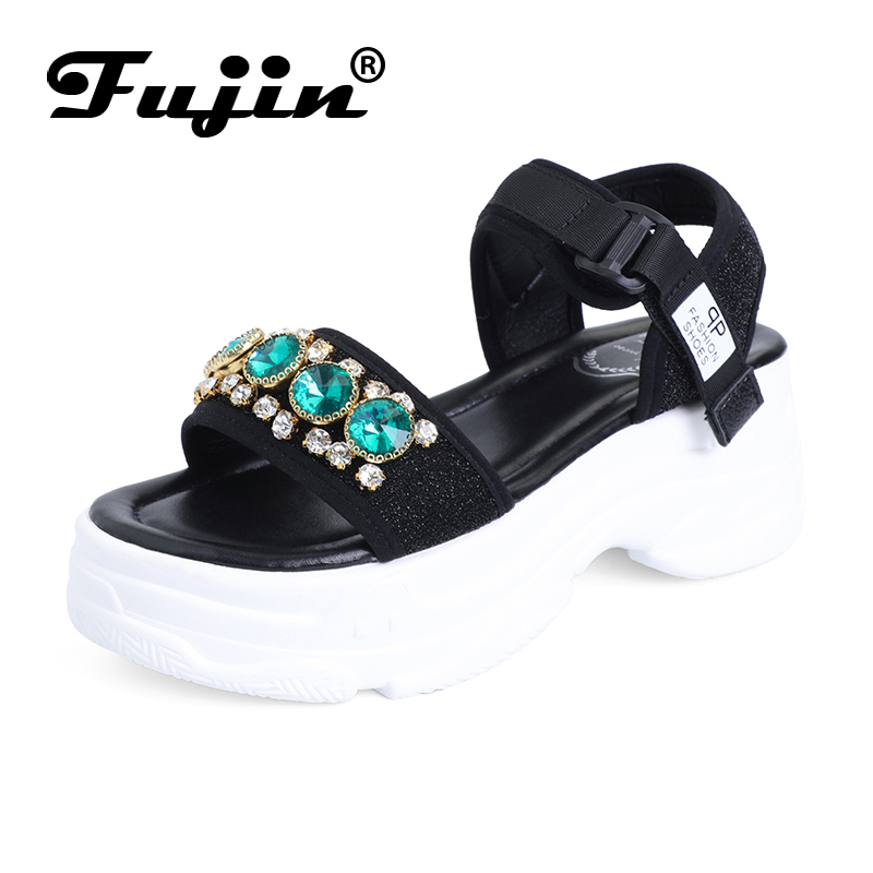 Fujin Sandalias Mujer 2019 New Dropshipping Platform Leisure Sandals Summer Fashion Shoes for Female Hook Loop Crystal Sandals in High Heels from Shoes