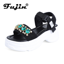 Fujin Sandalias Mujer 2019 New Dropshipping Platform Leisure Sandals Summer Fashion Shoes for Female Hook Loop Crystal