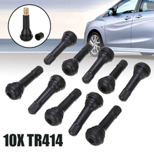 10pcs TR414 Rubber Snap-in Tubeless Tyre Tire Valves 38.1mm Brass Stem Car Trailer Light Truck Dust Caps Cover