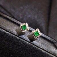 Fine Jewelry cqt Настоящее 18 К белого золота AU750 100% натуральный изумруд драгоценные камни женский серьги гвоздики с бриллиантами для женские серьг