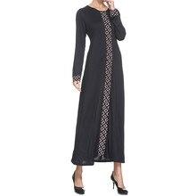 Ramadan Polyester Muslim Dress Womens Abaya Long Trumpet Sleev Hijab Patchwork Dress Elegant Fashion Robes for Dubai Women 4.13