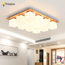 TRAZOS Nordic LED ceiling lamps modern wooden lights balcony light bedroom Fixtures restaurant lamp Ceiling lighting