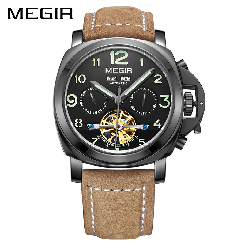 MEGIR Skeleton Automatic Mechanical Watch Top Brand Luxury Leather Army Military Men Watches Clock Men Relogio Masculino forsining gold hollow automatic mechanical watches men luxury brand leather strap casual vintage skeleton watch clock relogio