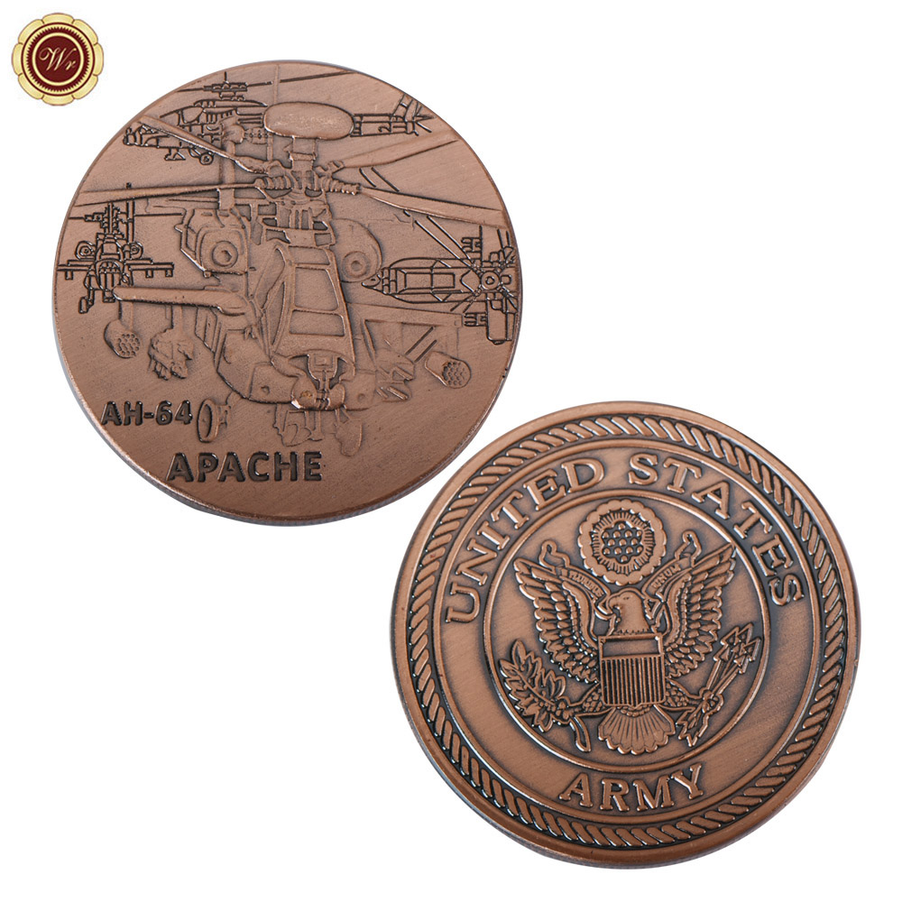 WR AH-64 Apache Commemorative Copper Coin US Army Challenge Brass Coin Metal Coin Art Crafts for Collectible Souvenir