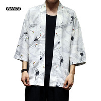 Men Japan Style Kimono Cardigan Shirt Coat Crane Printing Fashion Casual Thin Jacket Summer Outerwear