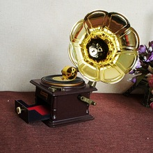 High end Vintage carving phonograph music box model  Home Furnishing Decor With storage drawer crafts ornaments