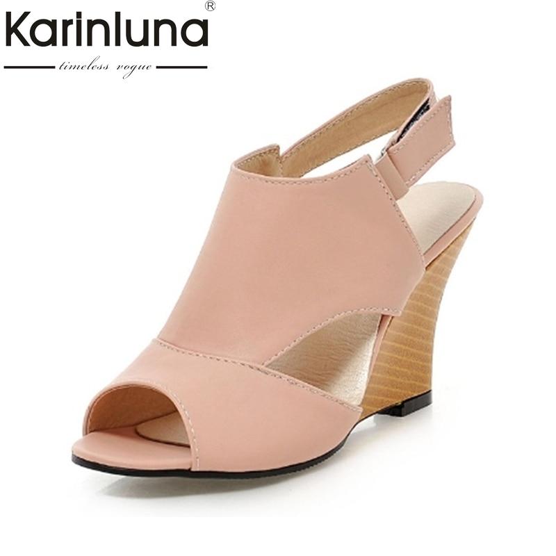 e1189f70a Big size 34-43 Women Gladiator Sandals 2018 Designer High Heel Wedge Sandals  Sweet Peep