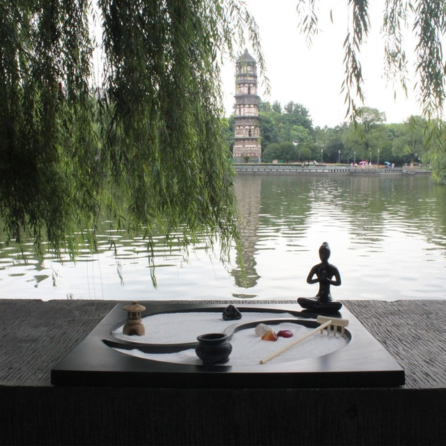 Mini Zen Garden Fengshui Resin Crafts Folk Art Home Decoration ...