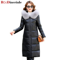 Women Long Genuine Leather Down Jackets With Real Fur Collar Plus Size Womens Hooded Leather Winter Coat Sheepskin Coat L014