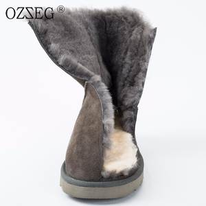 ecce164a08c OZZEG Female winter genuine leather ankle boots shoe women