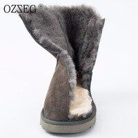 Female winter genuine leather natural sheepskin fur real australia wool ankle boots Eskimo shoe women snow boots