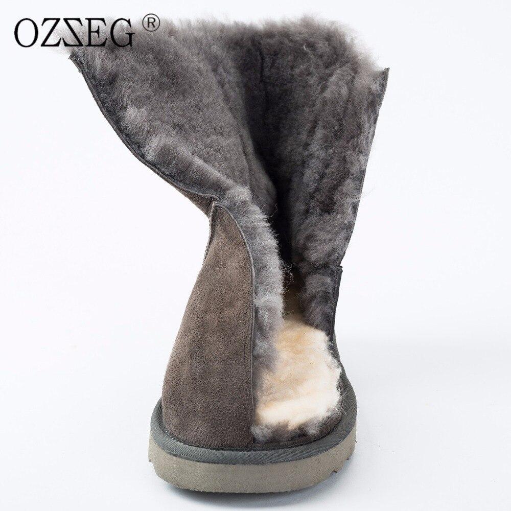 Femelle d'hiver en cuir véritable naturel en peau de mouton de fourrure réel australie laine cheville bottes Esquimau chaussures femmes neige bottes