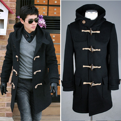 FREE SHIP Uyuk autumn winter wool horn button long design plus cotton casual slim hood men's coat male outerwear - Jazz Still Clothing Ltd, store