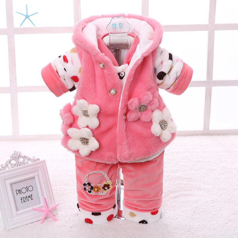 2017 Children Female Baby Autumn / Winter Three Cotton Padded Clothes Suit Girls Infant Clothes Winter Cuties 2017 winter children cotton padded parkas clothes baby girls