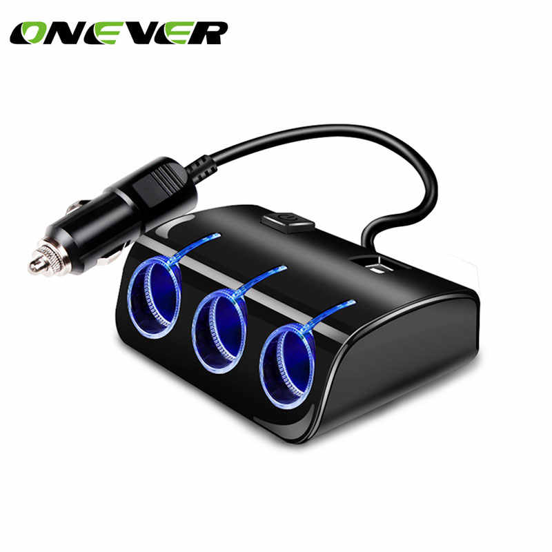 Onever 1 to 3 Car Cigarette Lighter with Dual USB Splitter Hub 12V/24V with Switch LED 5V/1.2A Three Socket Car Power Adapter