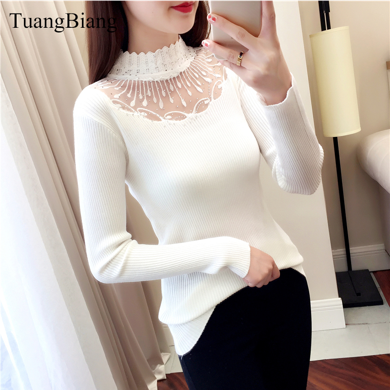 2019 Lace Turtleneck Pullovers Sexy Sweaters Hollow Out Winter Ladies White Sweater Elasticity Bodycon Basic Long Sleeve Sweater