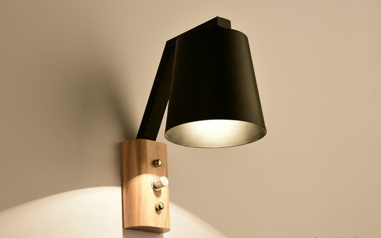 Nordic wooden art wall lamps modern creative E27 Bedroom Lighting Black / White Bedside Reading ...
