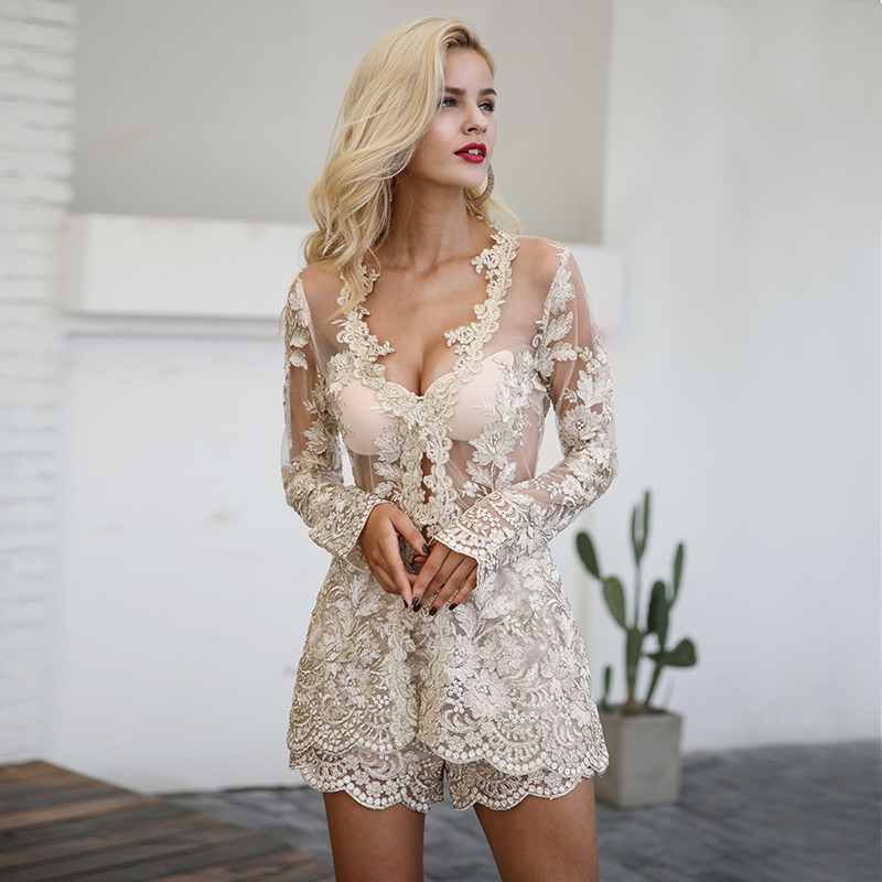 Simplee Sexy sequin lace playsuit women Elegant long sleeve co-ordinates suit jumpsuit romper Mesh embroidery backless overalls 4