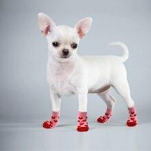4 шт./лот; обувь для собак; милые теплые носки для собак; нескользящие вязаные носки для щенков и котов; милые ботинки для кошек и собак с мультипликационным принтом; зимняя одежда
