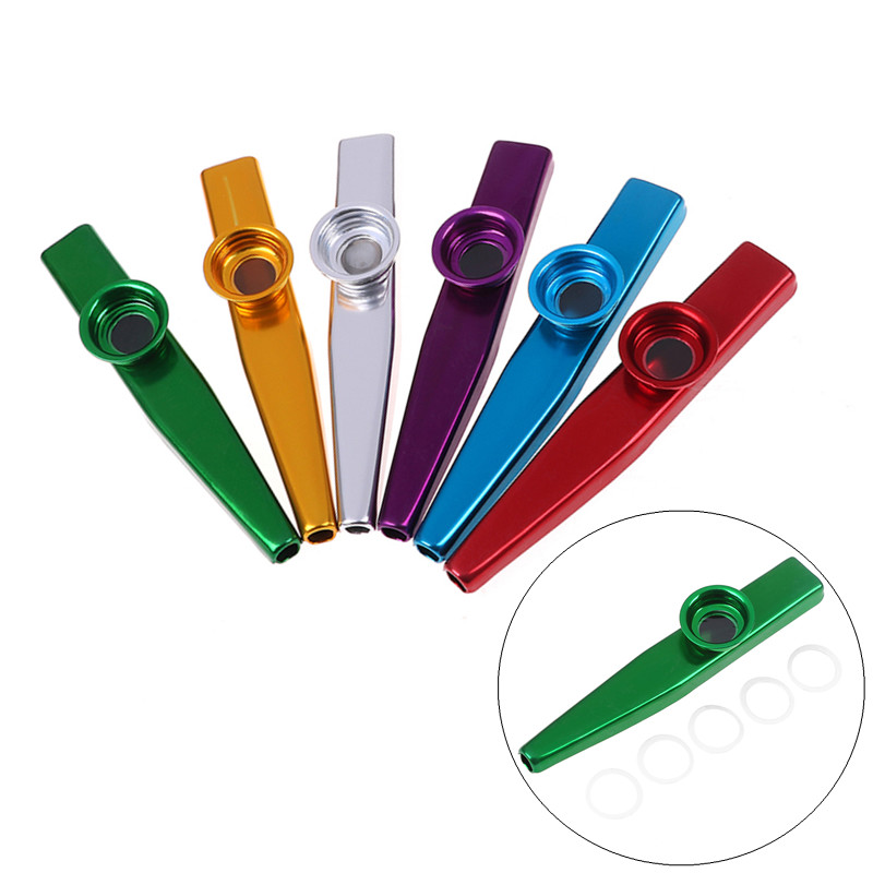 Aluminum Alloy Metal Kazoo With 5Pcs Flute Diaphragm For Children Kids Music-lovers Gifts