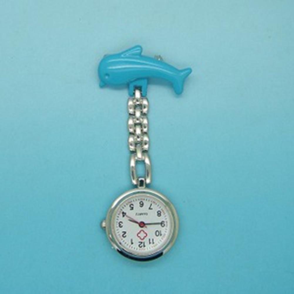 Pocket Medical Nurse Watch Pendant Women Dress Clip-on Pendant Hanging Quartz Clock Dolphin Shape Relogio De Bolso