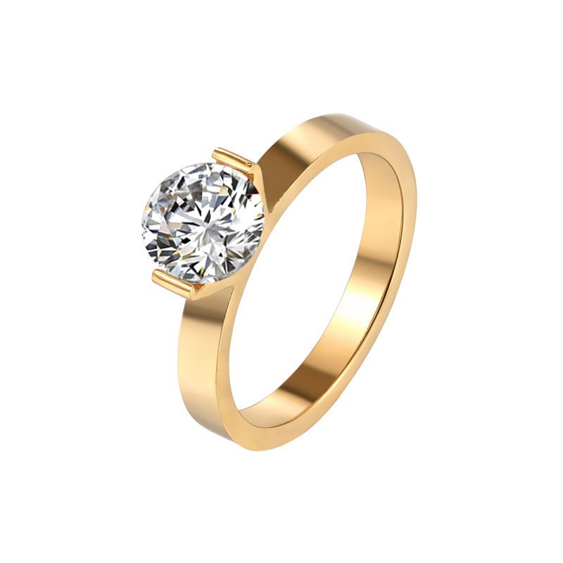 Hot 1 Carat Shiny Crystal Ring For Wedding Titanium Steel Top Quality Gold Color Jewelry Love Gift Woman Ring Wholesale 1