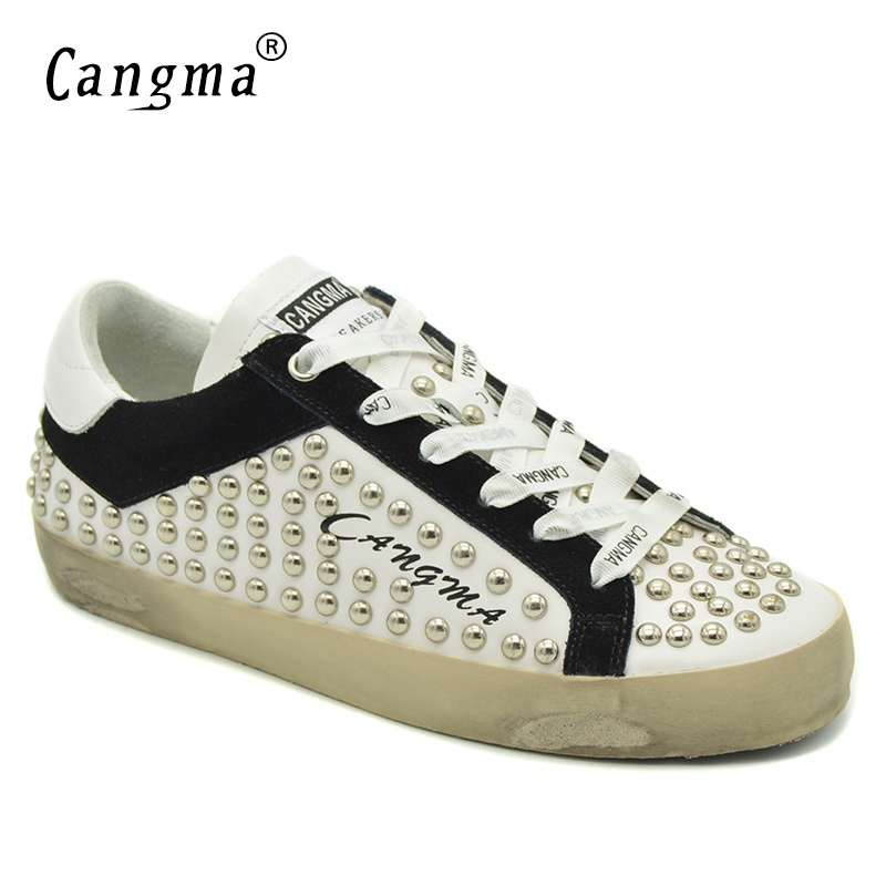 CANGMA Autumn Brand Flat Shoes Women Retro Stud Platform Sneakers White Casual Shoes With Rivets Genuine