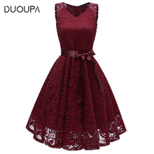 Plus size summer women's Knee-Length dress 2018 new sexy V-neck sleeveless full lace large swing  party dress women's clothing
