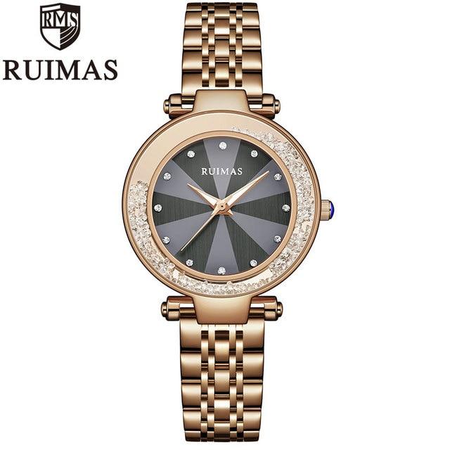 Ruimas Rose Gold Watch Women Business Luxury