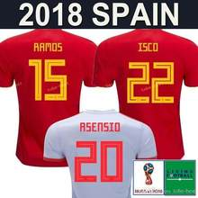9d2115c487 España 2018 adultos Jersey PIQUE un INIESTA RAMOS ASENSIO SILVA de la CIUO  casa rojo lejos camisa gris 18 19 Fútbol Mundial 2018