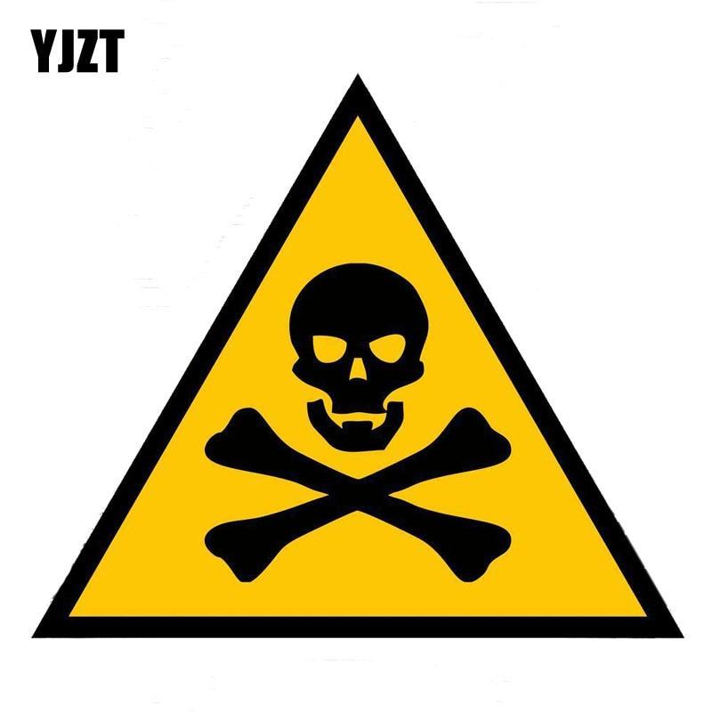 YJZT 16.7CM*14.5CM Creative Skull Warning Danger Decal Car Sticker PVC 12-0725