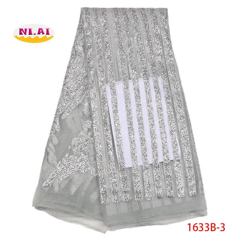 Tela de encaje africano gris plata, telas de encaje Nigeriano para boda 2018, tela brillante para vestidos MR1633B-in encaje from Hogar y Mascotas    1