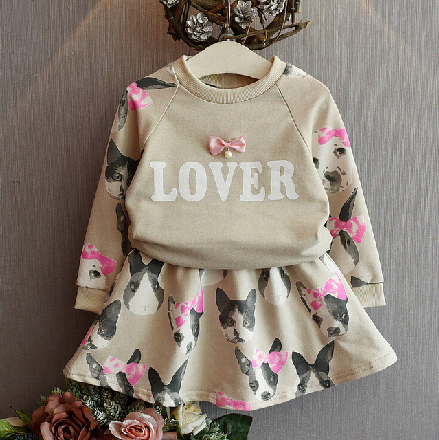 Girl clothing set,kids clothes,autumn spring clothing,Cat printed,full sleeve clothes set,2 pcs blouse+dress set,For 2T-7T
