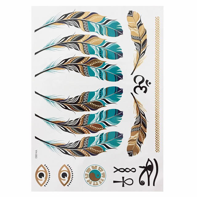 1 sheet Flash Boho Metallic Gold Feathers Shimmering Jewellery Festival Temporary Tattoo 1