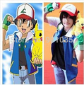 FREE SHIPPING  Wholesale! 2015 new Pokemon Ash Ketchum Trainer Costume Cosplay for man and woman Jacket +gloves+hat size xs-3xl