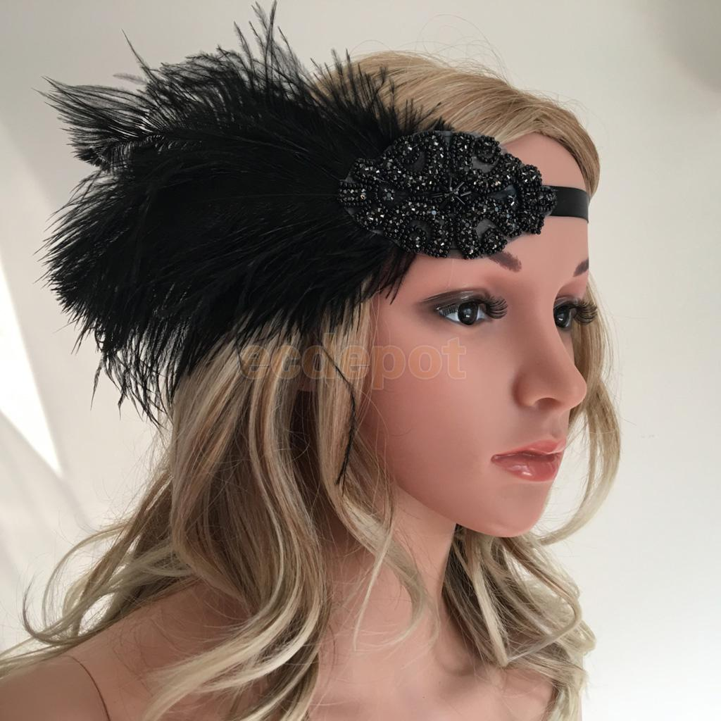 1920s Crystal Flapper Feather Flapper Hairband Great Gatsby Headpieces Headband Cosplay Costume