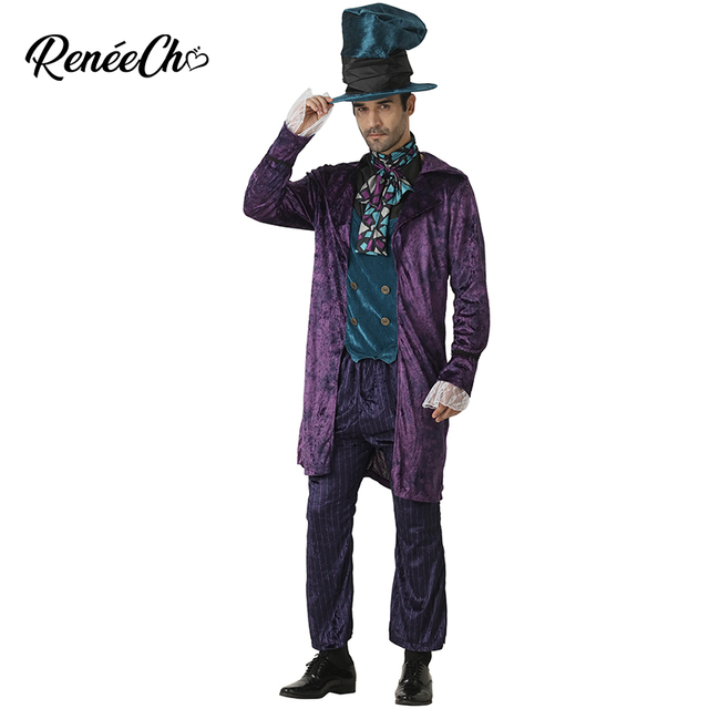 ea6e7f1e22 Halloween costume for Men Alice In Wonderland Prestige Mad Hatter Costume  Crazy Hat Cosplay Christmas Costume For Adult